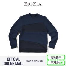 (2차재입고)(지오지아/ZIOZIA) 컬러블럭 포인트 맨투맨 티셔츠(ABX1TR1102/네이비)