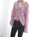 체크 핑크 면 셔츠 남방 3color