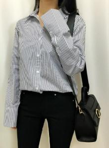 커프스 심플 스트라이프 셔츠 남방 - 네이비, 소라