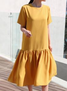[걸스데일리]바일렛 셔링 원피스(옐로우,핑크)
