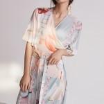 [VLEEDA] orange geometric wrap dress