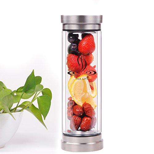 [해외]Tea Tumbler Tea Cup Tea Infuser Water Glass Bottle Fruit Infusion Double Wall Heat Resistance wi : 블루마트 - 네이버쇼핑