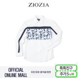 (지오지아/ZIOZIA) 카모플라쥬 패턴 가슴배색 포인트 캐주얼셔츠(AAW3WC1102/화이트)