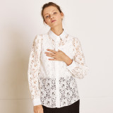 [TheKstory] Flower lace blouse_WHITE