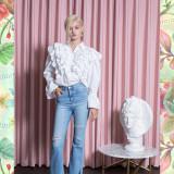 [소진착용]Stripe Cotton Ruffle Shirts_WHITE