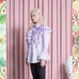 [소진착용]Stripe Cotton Ruffle Shirts_LILAC