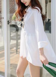 청순 여리 화이트 루즈핏 플레어 롱 블라우스 셔츠