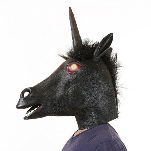 USATDD Latex Animal Unicorn Head Mask For Halloween Costume Cosplay Party 디럭스 Novelty 선물 Black : 홍길동 - 네이버쇼핑