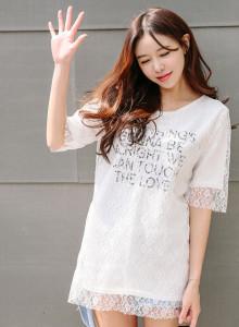 플라워 레이스 레이어드 레터링 롱 티셔츠