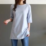 [걸스데일리]히즈유 7부 티셔츠(소라,그레이,아이보리,블랙)