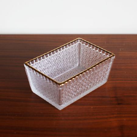 [Gold Trim Crystal] Glass Rectangle Bowl, 골드트림 크리스탈 직사각형 보울, 유리 보울