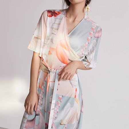 블리다 [VLEEDA] orange geometric wrap dress