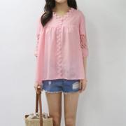 핑크 레이스 블라우스 - 3color