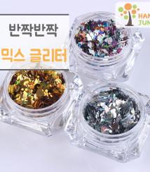 하나쭌 다이아몬드 하트 원형 네일 글리터