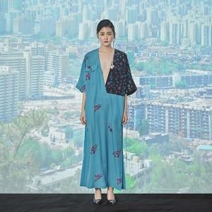 BALI DRESS-Wild Flower Series[KhakiVintage Blue]
