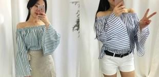 기획 특가❤ 오프숄더 블라우스 2종류 / 커프스 소매나팔 단가라 스트라이프 오프숄더 블라우스 셔츠 (3컬러)