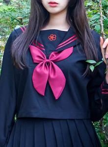 [해외직배송] 소녀의 로망 세라복 벚꽃 문양이 유니크한 흑세라 별무늬로 귀여운 뒷태 완성! XL 까지 있어요♥
