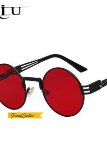[해외] 여름신상 메탈선글라스 바캉스여행용안경 틴트안경 데일리선글라스 고급 금속 선글라스 남자 라운드 선 글래스 Steampunk 코팅 안경 빈티지 복고 Lentes Oculos