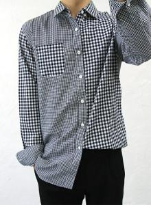 언발란스 배색 체크 셔츠 2color