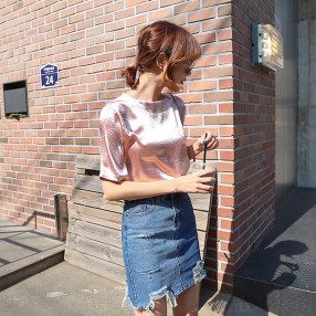 실크 샤이닝 샤틴 티셔츠 LS010