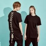 [6/21일 예약배송] Back Lace-Up T-Shirts BK