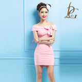 사랑스러운 핑크빛 리본 원피스 ,홀복,홀복원피스 ,섹시원피스,행사복 ,섹시정장,여름원피스 (제시카 267)