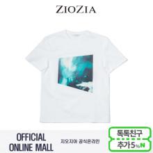 (지오지아/ZIOZIA) 면소재 앞판프린트 포인트 그래픽 티셔츠(ABX2TR1124/화이트)