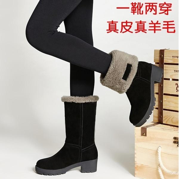 [해외] 여성 슈즈 / 여성 신발 Winter boots in the tube snow boots women leather flat slip b : 글로벌집합몰 - 네이버쇼핑
