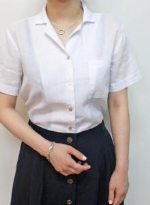 여자 반팔 린넨셔츠