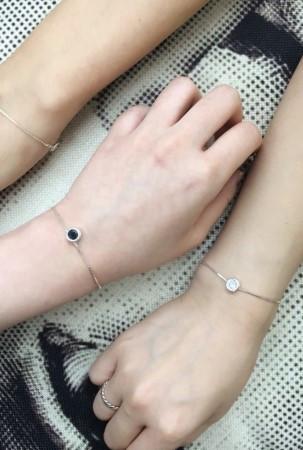 베젤 포인트 팔찌 (silver) 핑크& 화이트