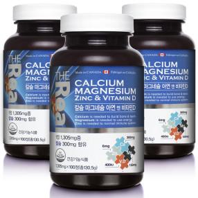 (승명) 더리얼 칼슘 마그네슘 아연 비타민D 1305mg x 100정