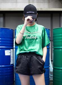 새틴 트레이닝 3부 반바지 밴딩 팬츠 블랙