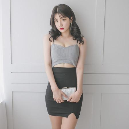 섹시한 탑원피스 허리트임 스트라이프 홀복 클럽