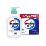 [Walch] 웨스 항균 핸드워시 250ml (Aqua) + 웨스 건강비누 (아쿠아) 3개입