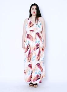 플랜츠 브이 넥 맥시 드레스