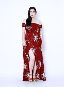 플로럴 오프숄더 맥시 드레스