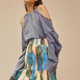 [블리다] [VLEEDA] blue offshoulder volume blouse