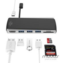 무아스 USB TYPE-C 허브 HDMI+SD+USB 3포트+충전