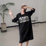 레터링 루즈핏 긴팔 라인 롱 티셔츠 원피스 LF036