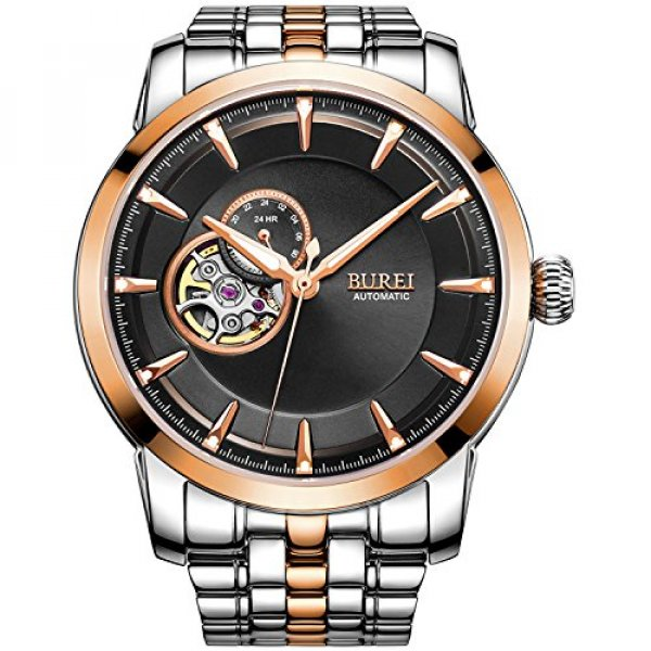 BUREI 남자 Skeleton Automatic Watches Timepieces with 메탈 스틸 Band and 로즈 골드 Bezel (Silver) : 블랙시크 - 네이버쇼핑