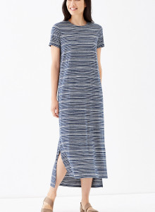 가을 원피스 J.Jill Pure Jill Crew-Neck Dress - indigo blue/cream