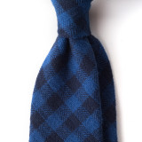 DARK NAVY GINGHAM CHECK COTTON TIE