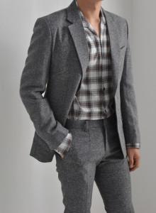 남자 F/W 헤링본수트 (gray) [더블리].CM
