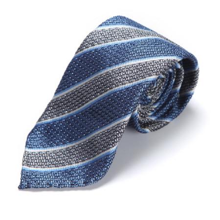 BLUE & WHITE GRENADINE REGIMENTAL TIE