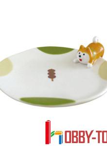 일본캐릭터 간식을 노리는 강아지 시바 접시 3개 묶음