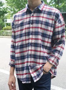 더블 오버핏 남자 체크셔츠