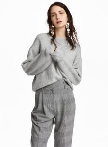 H&M 립 니트 스웨터 그레이 Gray