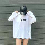 스태프 오버사이즈 여자 후드티셔츠 2color