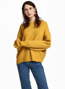 H&M 립 니트 스웨터 엘로우