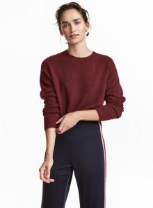 H&M 파인 니트 스웨터 버건디
